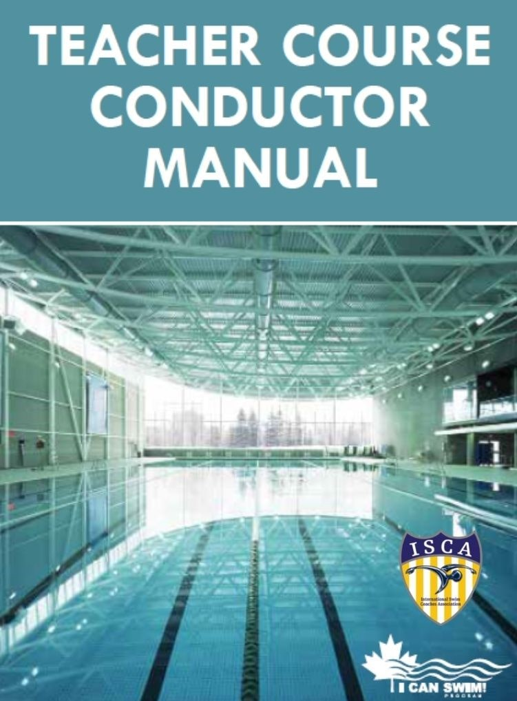 Teacher Course Conductor Manual, book cover, with ISCA and I Can Swim logos